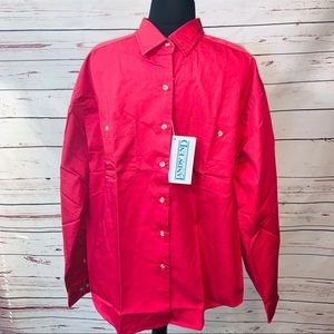 Lands End Casual Button Up Top Pink Shirt L""